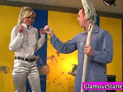 Clothed messy slut sucks cock