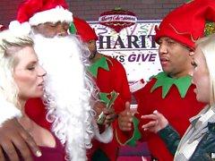MILF Sammy Brooks gets face fucked by black Santa