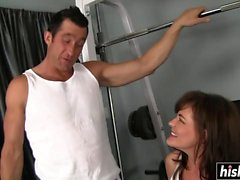Pretty mommy exercises and gets penetrated