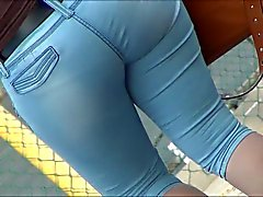 Sexy Thick Latina In Heels and capris VPL