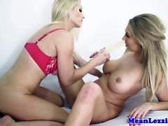 Lesbian Sami J enjoying dildo fuck with Lexi Lowe