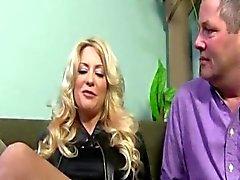 Big Tit MILF makes her cuckold husband watch as she fucks a black cock