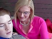 Superb teen and stepmom threesome sex