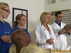 CFNM nurse cumsprayed in mouth