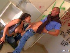 Buxom MILF Eva Karera goes at it in a public bathroom