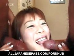Tomomi busty and other dame suck and ride two dongs so fine