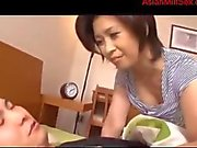 Milf Giving Blowjob For Young Guy In The Morning Cum To Mouth On The Bed