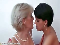 Mature blonde lesbian gets horny making