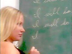 Horny teacher spanks a sexy cheerleader