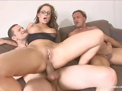 Hot Milf With Glasses Cindy Gets Both Her Holes Fucked By Two Guys!!!