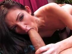 Hot brunette in stockings gets fucked hard
