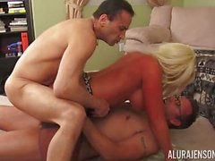 Hot blonde milf Alura Jenson pussy pounded with two cocks