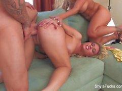 Shyla Stylez shares a big cock with Aubrey Addams