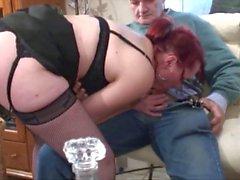 Red headed whore sucks and fucks a grandpas cock