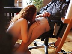 Redhead drools over this hard cock