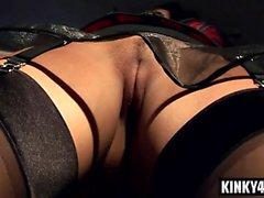 Brunette milf bondage and cumshot
