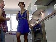 Horny british mature MILF in stockings sucking off dude