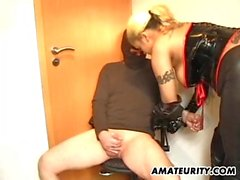 Busty amateur Milf bdsm fuck with cum on tit