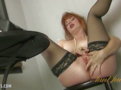 Amber Dawn playing with herself wearing thigh highs