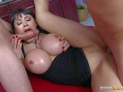 MILF Eva Karera with fake huge tits gets tag teamed