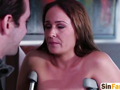 Kinky brunette mommy banged hard by her son in bed