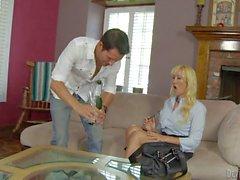 Charming blonde milf Alana Evans is his son's sexy teacher