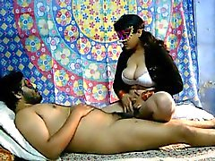 Savita sits on daddy's hairy cock