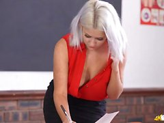 Spy down the teachers blouse to see her sexy tits