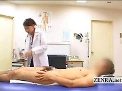 CFNM Japanese milf doctor bathes patients hard penis