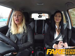 Fake Driving School lesbian sex with hot Australian