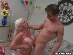 Bimbo milf with huge fake tits sucks and fucks