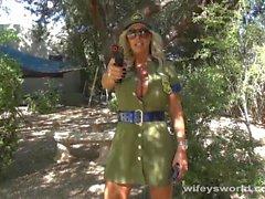 Busty Border Patrol Babe Blows Big Cock