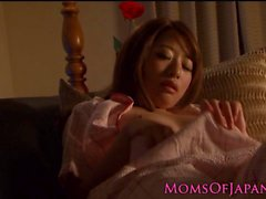 Japanese mommy toying her hairy vagina