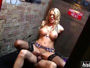Sexy blonde in stockings loves fucking