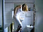 Attractive blonde milf gets her puffy fucked on her first-d
