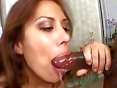 Tight ass brunette gets her shaved fish lips banged by black cock