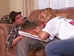Amateur amazing blonde slut doing blowjob to the pizza man