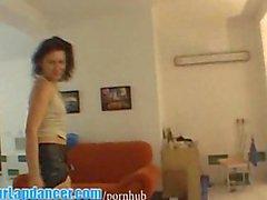 Nasty milf lapdances on horny guy