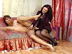 Dude moans with pleasure while brunette slut fucks him