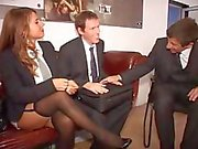 Two German secretaries make a good impression on the boss and his associate