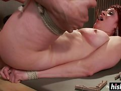 Submissive redhead got tied up and fucked