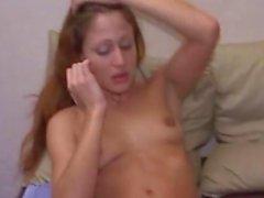 Skinny Latina milf cuddles her shaved cunt