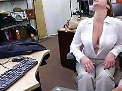 Huge tits white MILF gives bj
