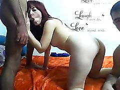 Attractive redhead milf with good breasts fucking and licki