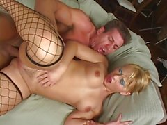Anal slut in mesh stockings chokes on Lee Stone's huge dick