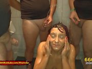 Extreme Pee lover Nicky gets her tight pussy wet 666Bukkake