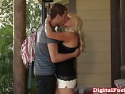 Innocent looking blonde kisses a rich ladies feet