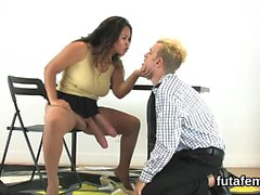Chicks fuck fellows anal with massive strap-on dildos and sp