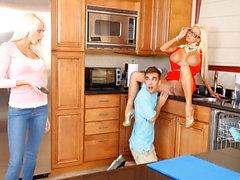 Sexy busty teen Logan Pierce has threesome with stepmom Nikita Von James