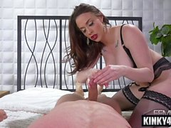 brunette pornstar domination with cumshot feature